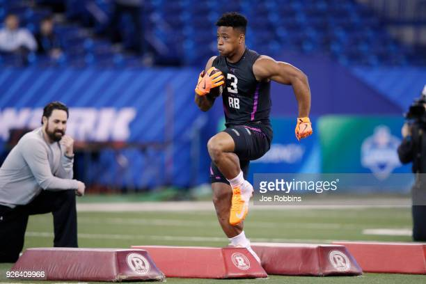 Penn State running back Saquon Barkley in action during the 2018 NFL Combine at Lucas Oil Stadium on March 2, 2018 in Indianapolis, Indiana.