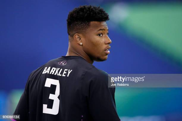 Penn State running back Saquon Barkley looks on during the 2018 NFL Combine at Lucas Oil Stadium on March 2 2018 in Indianapolis Indiana