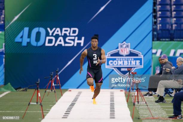 Penn State running back Saquon Barkley runs the 40yard dash during the 2018 NFL Combine at Lucas Oil Stadium on March 2 2018 in Indianapolis Indiana