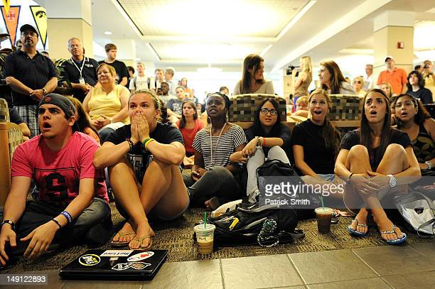 Penn State students and others react to the sanctions the NCAA announced against Penn State in the HUB on the campus of Penn State on July 23 2012 in...