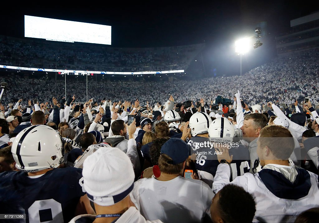Penn State students rush the field after the Penn State Nittany Lions defeated the Ohio State Buckeyes 24-21 on October 22, 2016 at Beaver Stadium in State College, Pennsylvania.