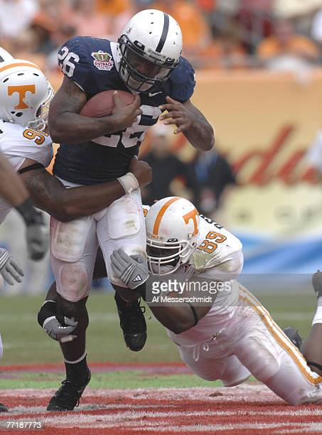Penn State tailback Tony Hunt rushes upfield against Tennessee in the Outback Bowl Jan 1 2007 in Tampa