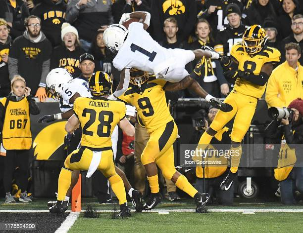 Penn State wide receiver KJ Hamler catches a 22yard touchdown pass during a Big Ten Conference football game between the Penn State Nittany Lions and...