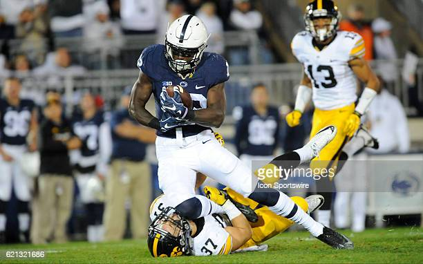 Penn State WR Chris Godwin accidentally knees Iowa S Brandon Snyder in the face after making a catch down field The Penn State Nittany Lions vs the...