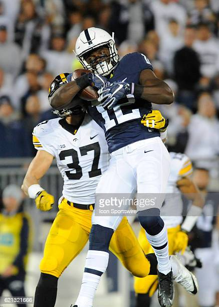 Penn State WR Chris Godwin makes a onehanded catch downfield while Iowa S Brandon Snyder covers him The Penn State Nittany Lions vs the Iowa Hawkeyes...
