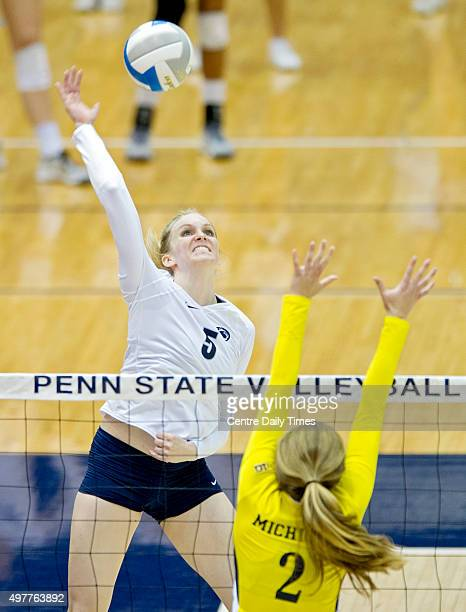 Penn State's Ali Frantti hits the ball over Michigan's Caroline Knop on Wednesday Nov 18 at Rec Hall in University Park Pa Michigan won 31