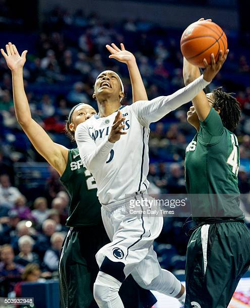 Penn State's Brianna Banks drives the lane against Michigan State on Thursday Jan 7 at the Bryce Jordan Center in University Park Pa Michigan State...