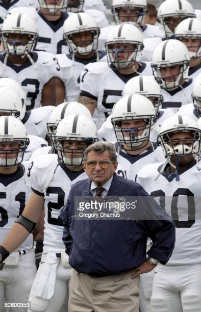 Penn State's head coach Joe Paterno gets ready to lead his team onto the field for a game against Nortwestern at Ryan Field in Evanston Illinois Sept...