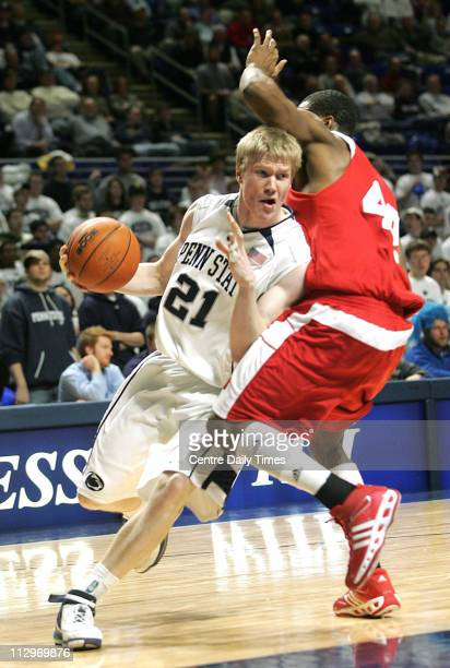 Penn State's Joonas Suotamo drives past Wisconsin's Alando Tucker in the second half at the Bryce Jordan Center in State College Pennsylvania...