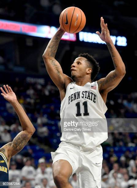 Penn State's Lamar Stevens goes in for a basket against Michigan on Wednesday Feb 21 at the Bryce Jordan Center in University Park Mich Michigan won...