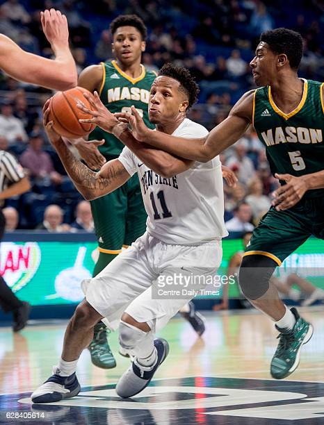 Penn State's Lamar Stevens pushes past George Mason defenders on his way to the basket at the Bryce Jordan Center in University Park Pa on Wednesday...