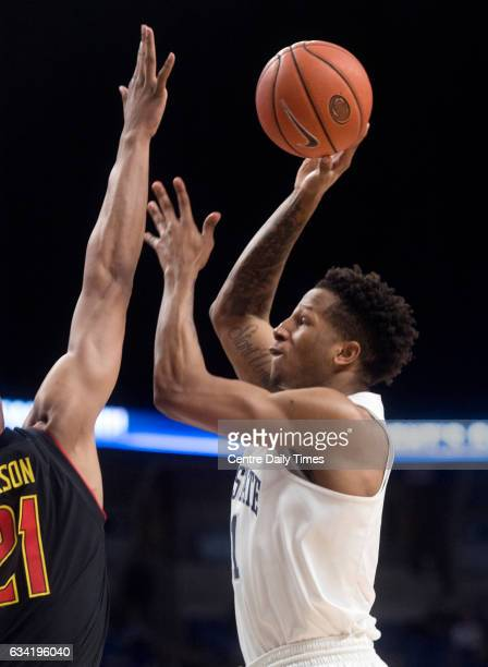 Penn State's Lamar Stevens shoots for a basket over Maryland's Justin Jackson during the Tuesday Feb 7 2017 game at the Bryce Jordan Center in...