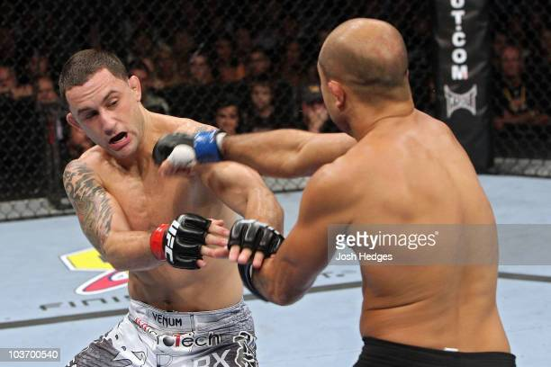 Penn throws a punch against Frank Edgar during their UFC lightweight title bout at the TD Garden on August 28, 2010 in Boston, Massachusetts.