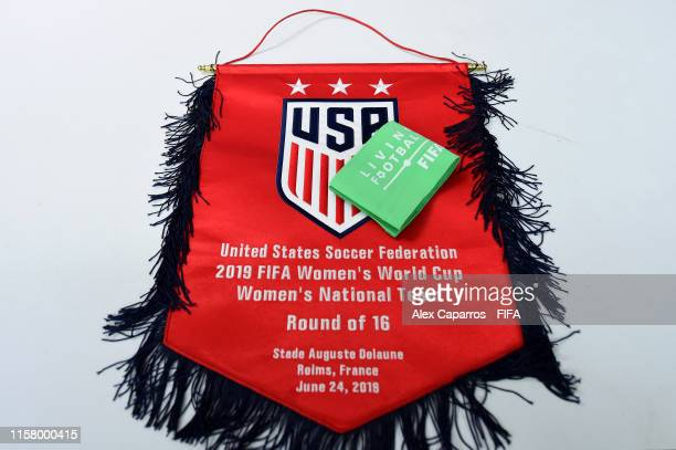 Pennant and a captains armband are displayed inside the dressing room prior to the 2019 FIFA Women's World Cup France Round Of 16 match between Spain...