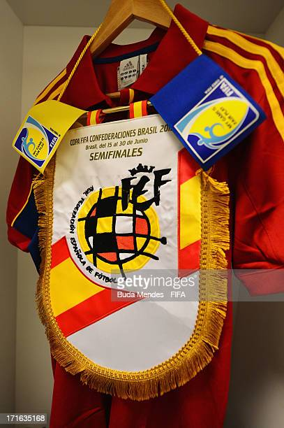 Pennant and kit on display prior to the FIFA Confederations Cup Brazil 2013 Semi Final match between Spain and Italy at Castelao on June 27 2013 in...