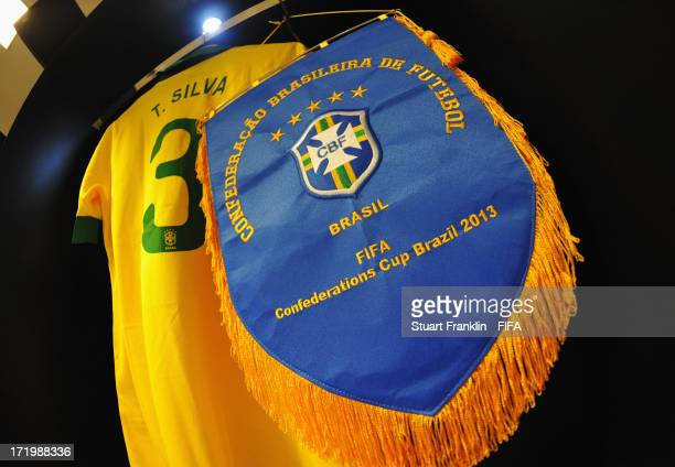 A pennant and shirt of Thiago Silva on display in the Brazil changing room prior to the FIFA Confederations Cup Brazil 2013 Final match between...