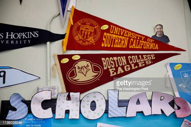 A pennant for University of Southern California hangs in the college center at the Los Angeles Center for Enriched Studies school on Friday March 22...