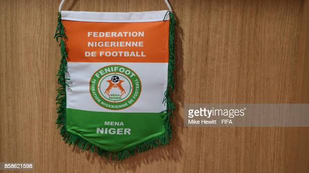 A pennant hangs in the Niger changing room ahead of the FIFA U17 World Cup India 2017 group D match between Korea DPR and Niger at the Jawaharlal...