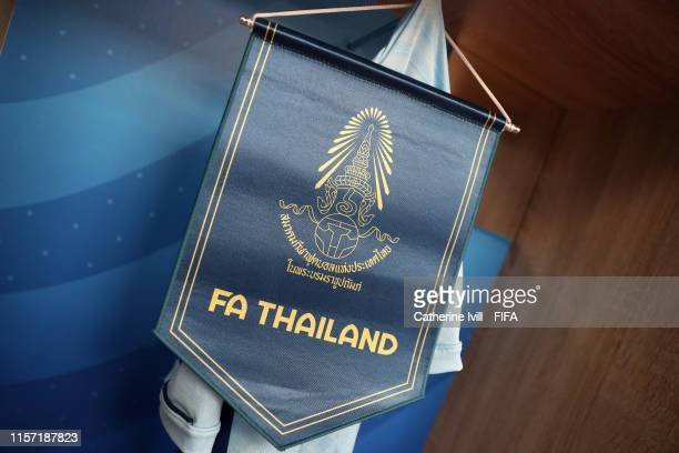 A pennant is seen hanging inside the dressing room prior to the 2019 FIFA Women's World Cup France group F match between Thailand and Chile at...