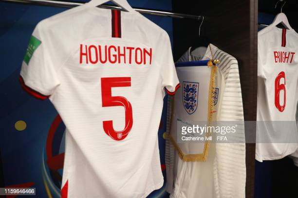 Pennant is seen hanging next to the shirt of Steph Houghton of England in the dressing room prior to the 2019 FIFA Women's World Cup France Semi...