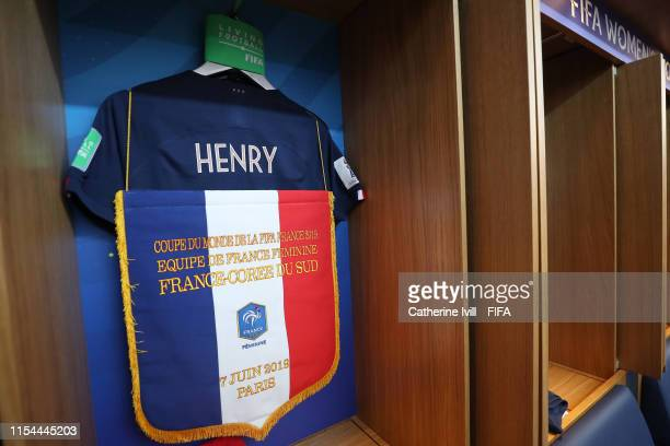 A pennant is seen hanging on the shirt of Amandine Henry of France prior to the 2019 FIFA Women's World Cup France group A match between France and...