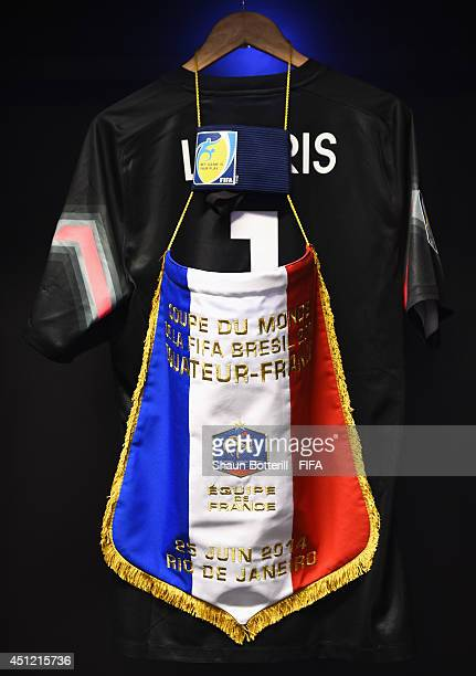 A pennant is seen in the France dressing room prior to the 2014 FIFA World Cup Brazil Group E match between Ecuador and France at Maracana on June 25...