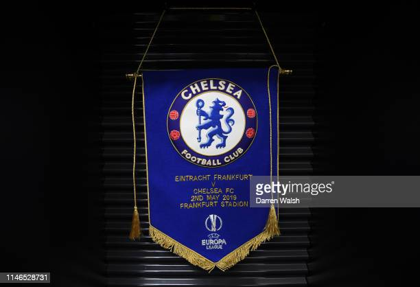 A pennant on display in the Chelsea dressing room prior to the UEFA Europa League Semi Final First Leg match between Eintracht Frankfurt and Chelsea...