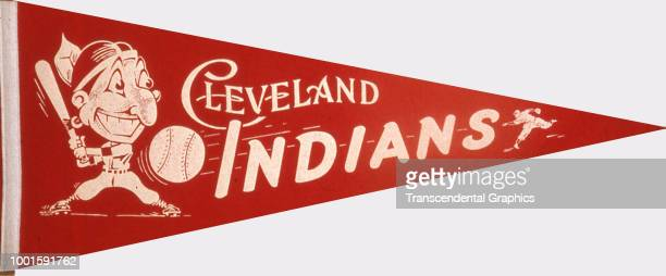 Pennant promotes the Cleveland Indians baseball team Cleveland Ohio 1950s It features an image of the team's mascot 'Chief Wahoo'