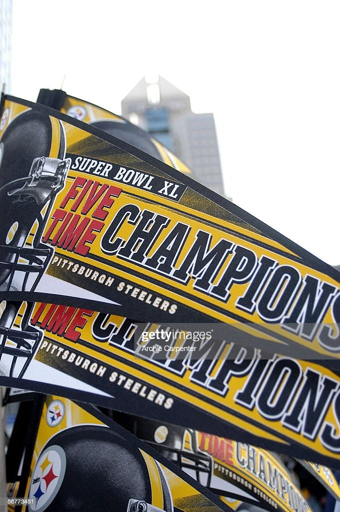 Pennants fly high for the Pittsburgh Steelers during the victory parade celebrating the win at Super Bowl XL on February 7, 2006 in downtown Pittsburgh, Pennsylvania.