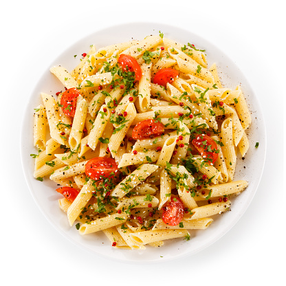 Penne, pesto sauce and vegetables 845599288