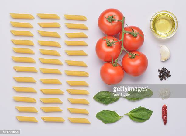 Penne with Fresh Tomato Sauce knolling style