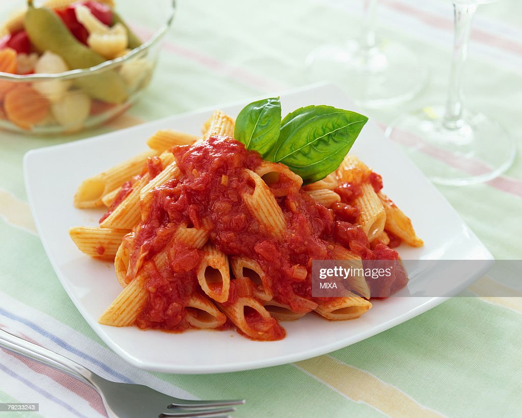 Penne with tomato sauce : Stock Photo