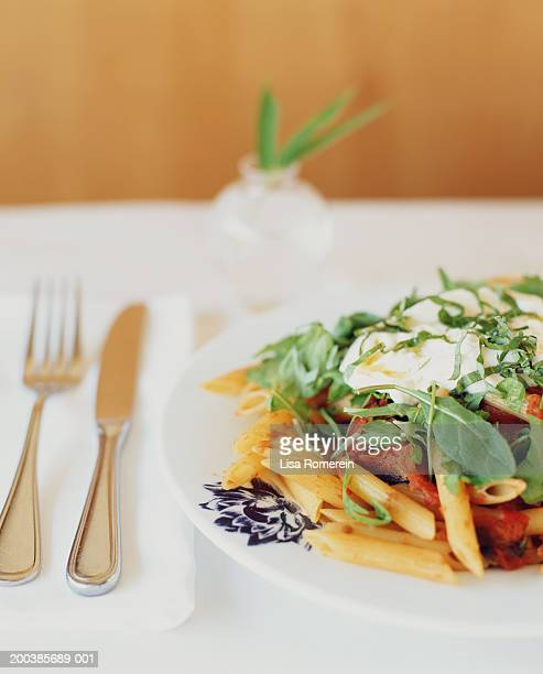 Penne with tomatoes, arugula, basil and mozzeralla