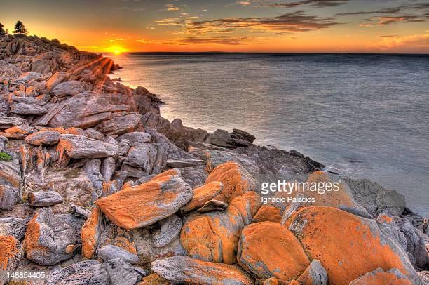 Penneshaw coastline at sunset.
