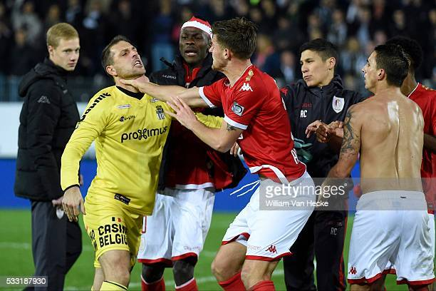 Penneteau Nicolas goalkeeper of Charleroi Arslanagic Dino defender of Standard Liege Knockaert Anthony striker of Standard Liege during the Jupiler...