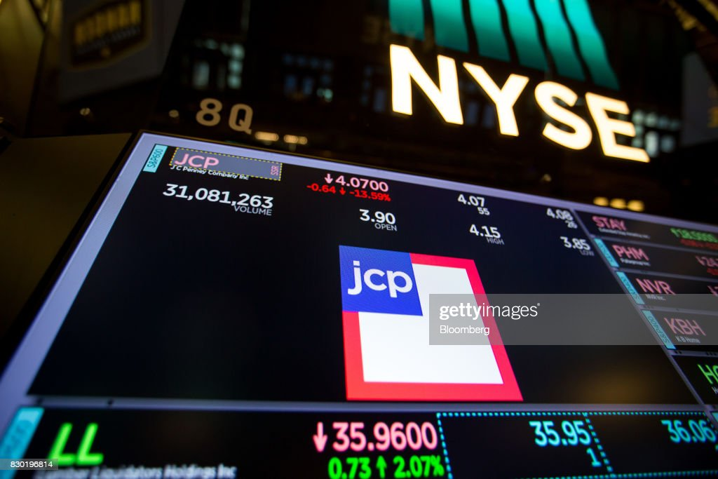 JC Penney Co. signage is displayed on a monitor on the floor of the New York Stock Exchange (NYSE) in New York, U.S., on Friday, Aug. 11, 2017. U.S. stocks halted a three-day slide, volatility eased and Treasuries slipped as markets began to stabilize after a week of verbal sparring between the U.S. and North Korea. Photographer: Michael Nagle/Bloomberg via Getty Images