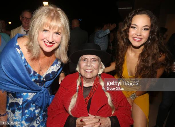 """Pennie Lane Trumbull, Joni Mitchell and Solea Pfeiffer pose at the opening night of the new musical """"Almost Famous"""" at The Old Globe Theatre on..."""