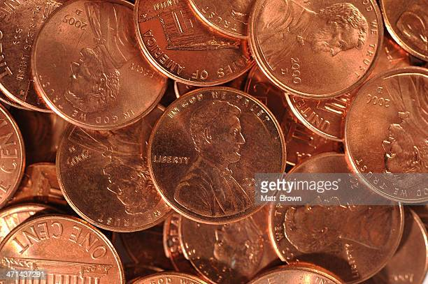pennies - lincoln brown stock pictures, royalty-free photos & images