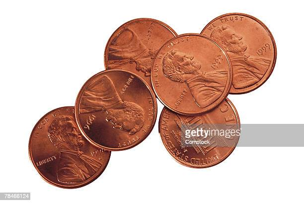 pennies - small group of objects stock pictures, royalty-free photos & images