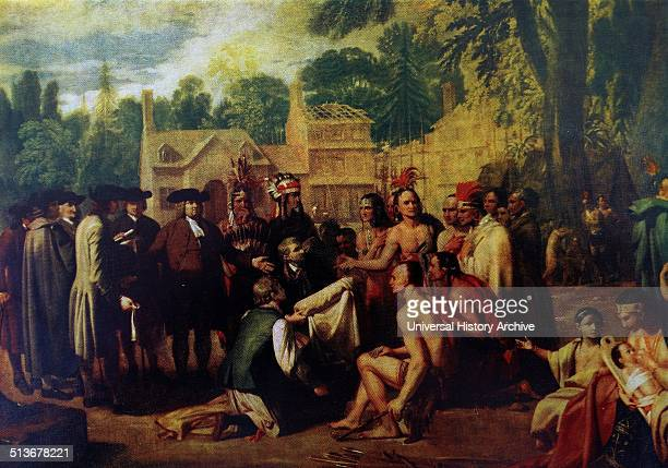 Penn's Treaty with the Indians 1771 by Benjamin West an AngloAmerican painter of historical scenes around and after the time of the American War of...