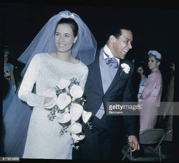 Pennsauken New Jersey Chubby Checker and His new bride the former Catharina Lodders following their wedding at temple Lutheran Church