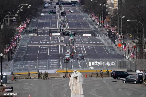 Pennsylvania Ave. Is seen during a dress rehearsal for the 59th inaugural ceremony for President-elect Joe Biden and Vice President-elect Kamala...