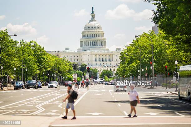 pennsylvania avenue and united states capitol, washington, d.c. usa - capital cities stock photos and pictures