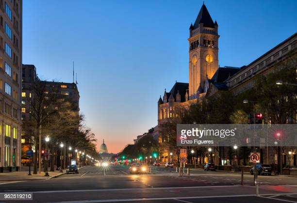 pennsylvania avenue at dawn - clock tower stock pictures, royalty-free photos & images