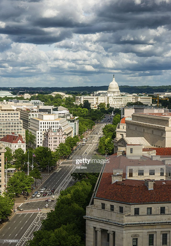 Pennsylvania Avenue leading up to the United States Capitol : Stock Photo