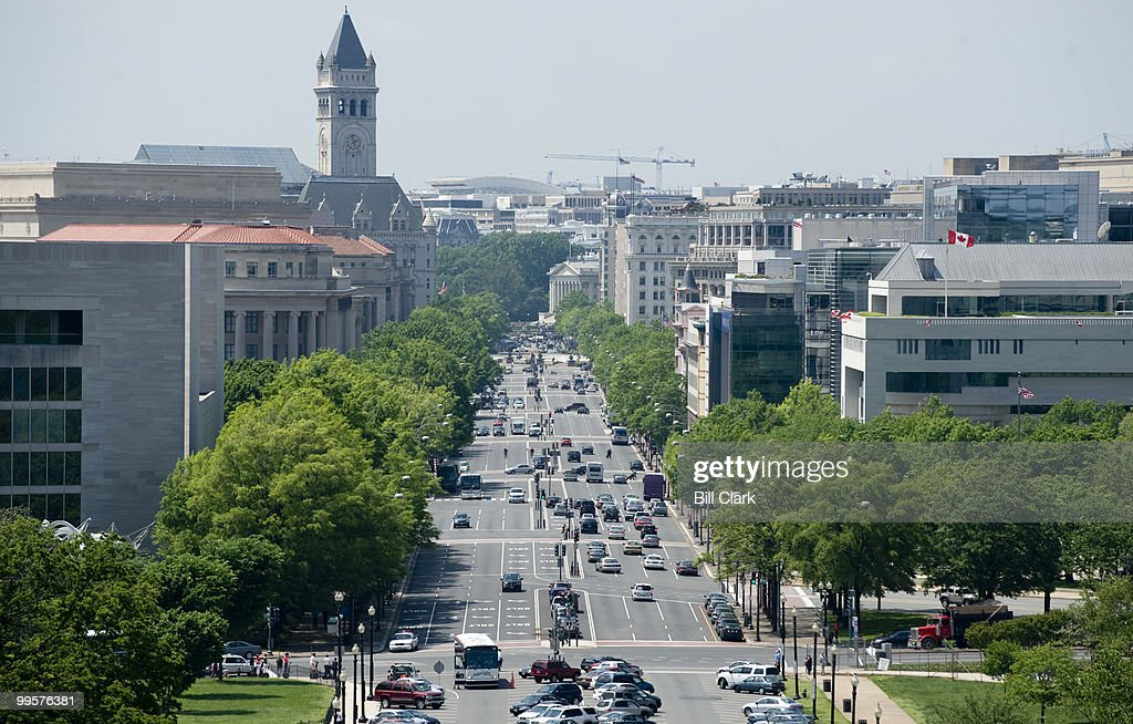 Pennsylvania Avenue leads from the U.S. Capitol to the White House, as viewed from the Speaker's Balcony at the Capitol on May, 8, 2009.