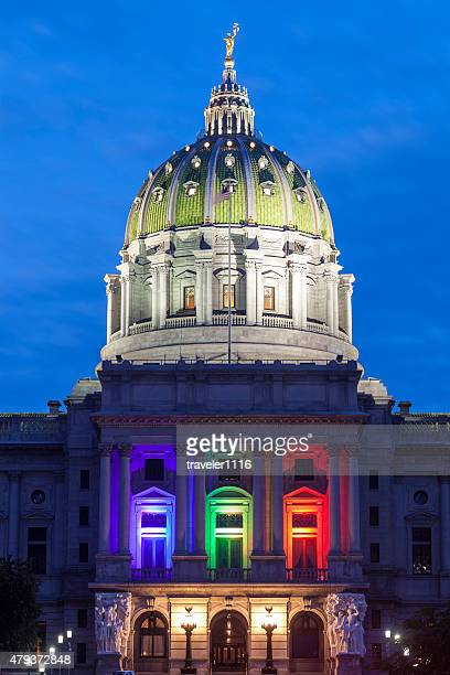 pennsylvania capitol after the supreme court ruling on gay marriage - harrisburg pennsylvania stock pictures, royalty-free photos & images