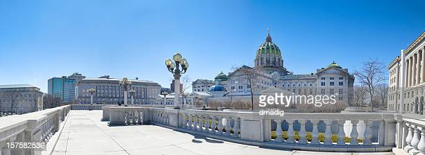 pennsylvania capitol building panorama - harrisburg pennsylvania stock pictures, royalty-free photos & images