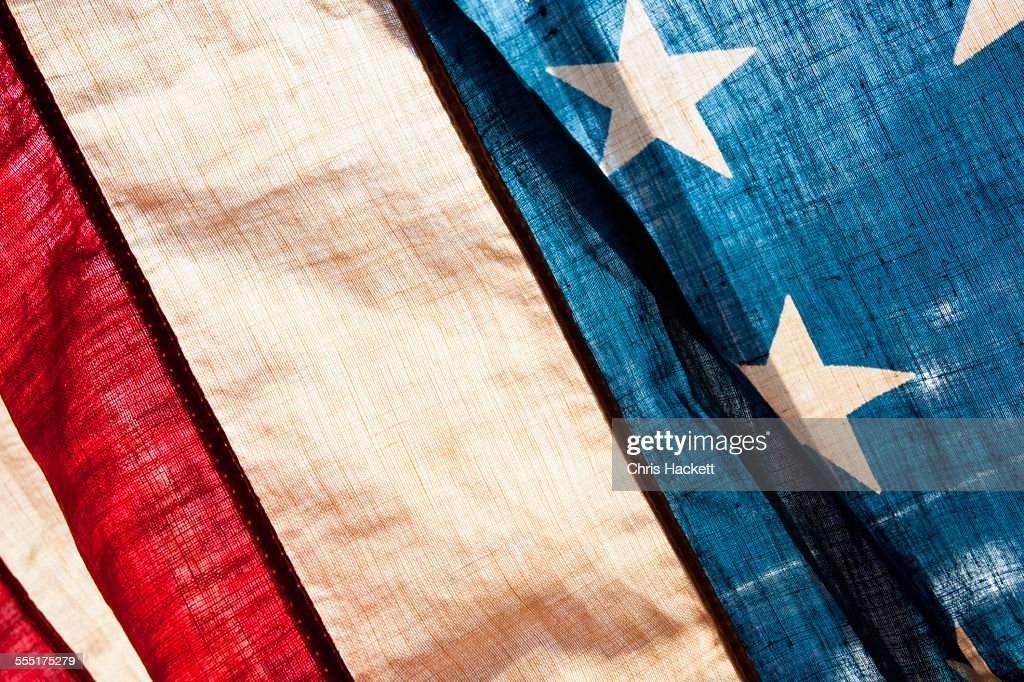 USA, Pennsylvania, Gettysburg, Close-up view of antique American flag : Stock Photo