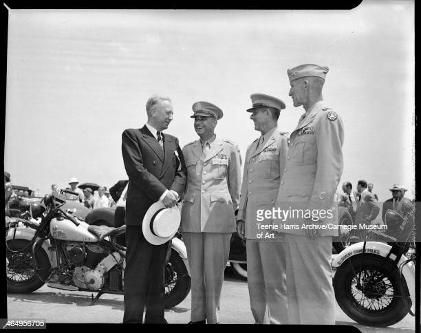 Pennsylvania Governor Edward Martin General Joseph T McNarney General Jacob L Devers and Lieutenant General William H Simpson at Allegheny County...